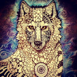 Zentangle Wolf by AmethystCreatures