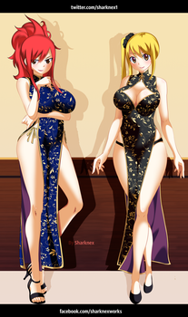 Fairy Tail - Erza and lucy by sharknex01