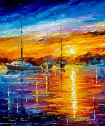 Boats Sunrise And Happines
