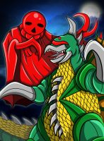 Gigan vs Saucer Organism Nova (Enshohma) by earthbaragon