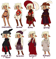 Outfit sheet for a spoony bard by StudioMaz