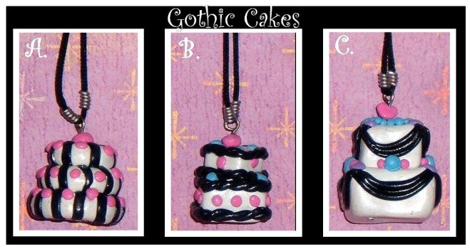 Gothic Cake Necklaces by clrkrex