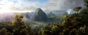 Panorama, Tethered Islands by aaronsimscompany