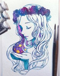 Universe in the Palm of Her Hand by Qinni