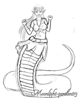 Miia the Lamia Sketch by Moonlight-pendent13