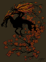 Autumn Tree Dragon by Emchromatic