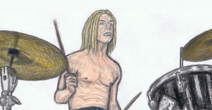 Iggy Pop on drums by gagambo