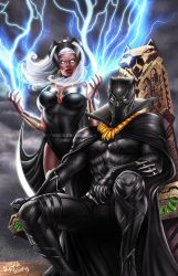 Black Panther and Storm by DyanaWang