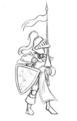 Cartoon Knight Sketch by RisingDragonArt