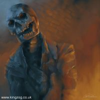 Burning Zombie by kingzog