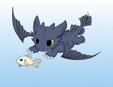 Toothless chibi catching fish by MisChibiOus