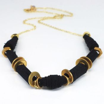Black Fabric Necklace- Denim and Brass Hardware by Tanith-Rohe