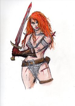 Red Sonja sketch by Ditch-scrawls