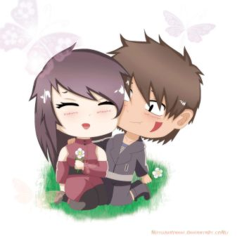 Chibi Kiba and Mtsu by lazycreator