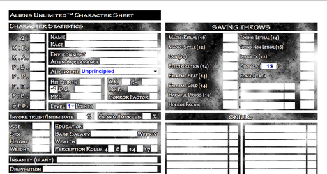 Fillable Aliens Unlimited Character Sheet by MADMANMIKE
