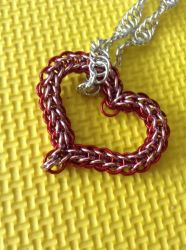 Red and Pink Chainmail Heart Necklace by SpunkyArmadilloMail