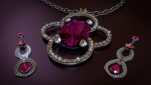 Ruby Necklace and Earrings by alewism