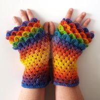 Rainbow dragon gloves commission by FearlessFibreArts