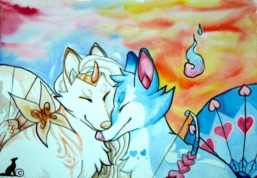 Valentines Surprise Foxfan Event - my Entry by WatercolorsInTheRain