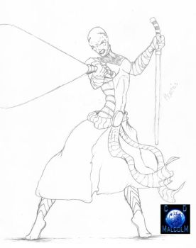 Asajj Ventress Pencils by cdmalcolm