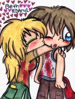 Beth X Daryl: Shy Kiss by Violent-Rainbow