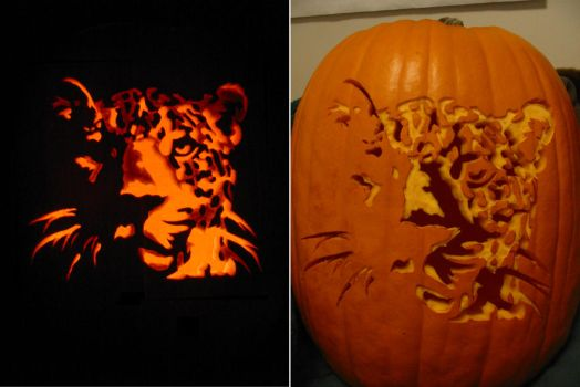 Real Leopard Pumpkin Carving by Armuri