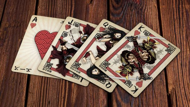 Heroes of Japan Playing Cards - Hearts by kardeck-playingcards