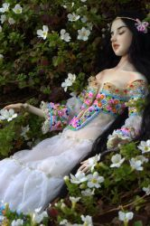 Snow White on Flowers by Marina-B