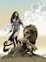 Tarzan and Lion in color by zeustoves
