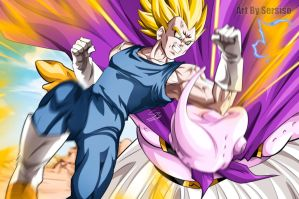 Vegeta and Majin Buu by Sersiso