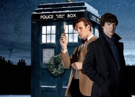 Sherlock And DW Christmas Wallpaper by drawingdream