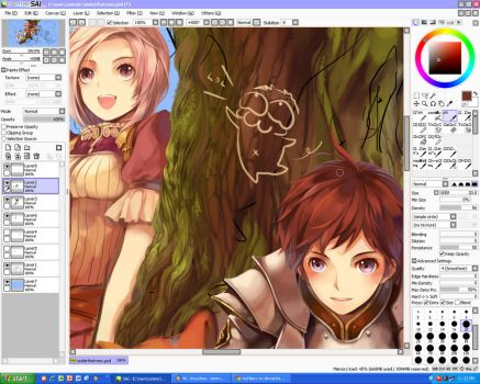 WIP-knight and mage by myhilary