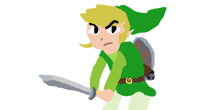 Crouched Toon Link by Ilovebookssomuch