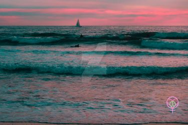Sunset Blue Surf and Sail Venice Beach by LauraAnnTull