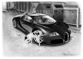 Dog pisses on a Bugatti Veyron by autodrawings
