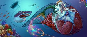 Triton and the Fishing Net by RYE-BREAD