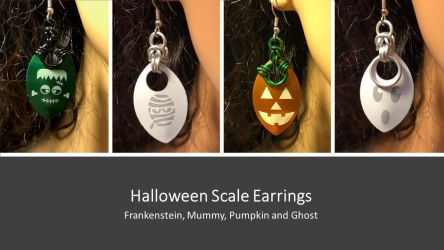 Halloween Scale Earrings by graywolfsmaille