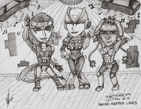#Inktober Day 14 - Dancing Maverick Ladies by WOLF777MX
