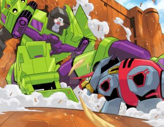 G1 Movie / TFA Devastator Vs. Snarl by iq40