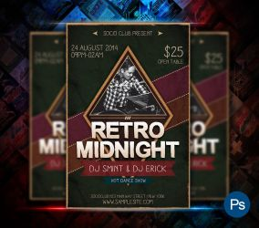 retro Midnight Party Flyer by afizs