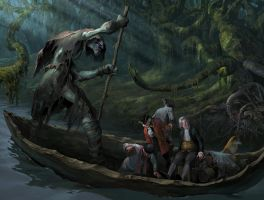 The travel by the dark river by Andrei-Pervukhin