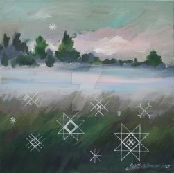 Traditional latvian folk symbols on a misty meadow by BrigitaEktermane
