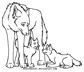 Mother and Pups Lineart by ScorchWolf1