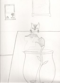 Cat and Hummingbird sketch by felicia-angel