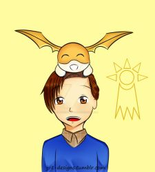 Peter Parker and Patamon by jt-designs-123