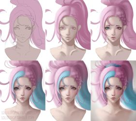 YOUTUBE SPEEDPAINT- Process Steps 'Cotton Candy' by Lolliedrop