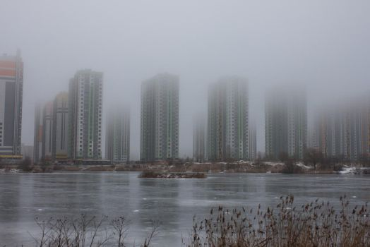 Fog in the city 8 by ManicHysteriaStock
