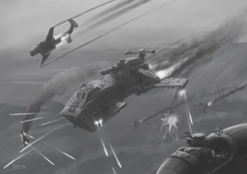 Wh40K: Red Corsair Thunderhawk by StugMeister