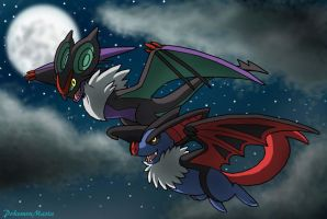 Noivern and Draknoir, a Moonlit Flight! by PokemonMasta