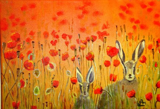 Hares in the poppies by WendyMitchell